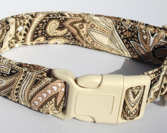 Brown Paisley Dog Collar Size XS, S, M or L