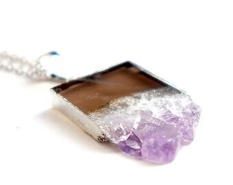 Amethyst Druzy Slice Necklace - ADN13