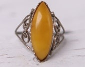 1950s VINTAGE Soviet RuSSIAN Jewelry Filigree Melchior RING with Amber USSR 19mm