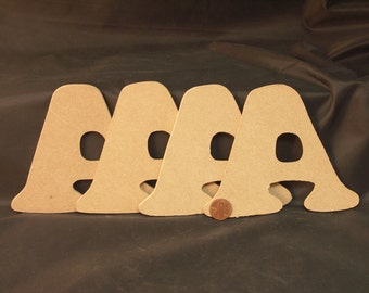 """Hand Cut Alphabets, Pack of 4 """"A"""", 4.5"""" Tall, Blank, Ready for your art work"""