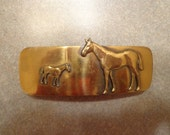 Vintage (New Old Stock) Shiny Brass Hair Clip/Barrette with Horse and Colt
