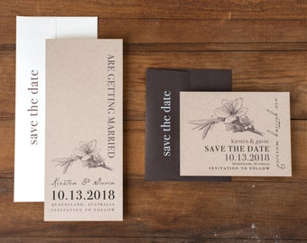 """Magnolia Save the Dates, Wedding Save the Date Cards, Woodsy Wedding, Rustic Wedding - """"Rustic Magnolia"""" Save the Dates"""