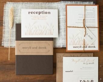 "Copper Wedding Invitation, Burlap Boxed Wedding Invitations with Wheat Stalk, Rustic - ""Wheat Stalk Box Invite"" Sample - NEW LOWER PRICE!"