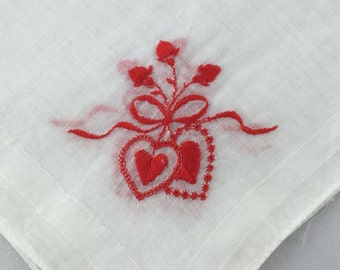 Vintage Valentine Hankie Embroidered Hearts Hanky with Hearts and Flowers Handkerchief Fine Cotton Red White