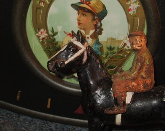 Vintage Cast Iron Racing Horse and Jockey.  Hubley (?).  Y-198
