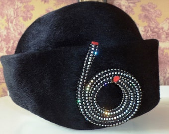 Vintage Black Fur LESLIE JAMES HAT Bullock's Northern California Made in Italy #6 Rhinestone Splendide Mod