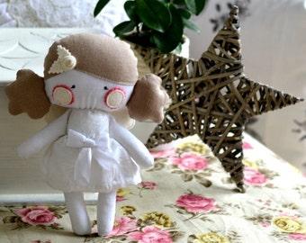 ANGEL rag doll stuffed toy stuffed doll plushie softie angel wings beige pale pink snow white handmade flower rose 9.8 inch 25 cm