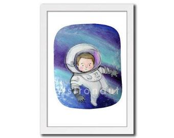 Astronaut boy wall art print illustration painting colorful child room girl room nursery cute decoration sky universe turquoise blue purple