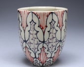 Ceramic Tumbler - Juice Cup, Yunomi - Handmade with Navy, Red and Purple Pattern
