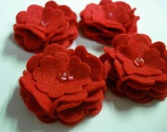 Set of 6pcs handmade felt flower - red (SCF)