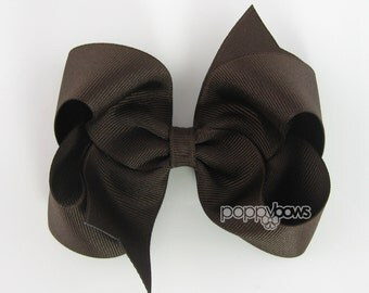 Chocolate Brown Hair Bow - Baby Toddler Girl - Solid Color 4 Inch Boutique Bow on Alligator Clip Barrette