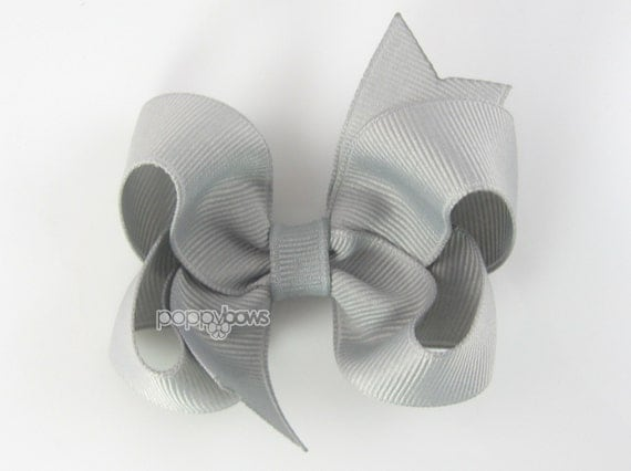 Gray Hair Bow - Baby Toddler Girl - Solid Color 3 Inch Boutique Bow on Alligator Clip Barrette - Light Grey
