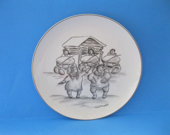 Robert Mayokok Collectors Plate Native American Iñupiat Alaskan Artist Dancing Couple -FL