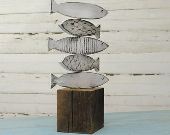 Rustic Fish Art Sculpture Beach Decor Lake Decor Rustic Home Accent