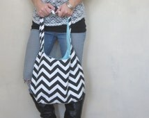 Boho Bag. Cross Body Hobo Bag. OR Shoulder Small or Large Chevron Purse. Black and White with Reversible Fabric Coordinate with Bold Colors.