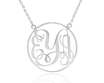 Monogram Necklace 1.0 inch- Sterling Silver Personalized Necklace Monogrammed Necklace bridesmaids gift