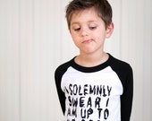 I Solemnly Swear- 3/4 sleeves -boys graphic baseball tee - 2t to 6