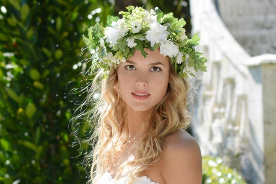Flower Crown White Flower Crown Flower Girl Floral Headband Flower Hair Headpiece Wedding Flower Crown Bridal Flower Crown Headband Crowns