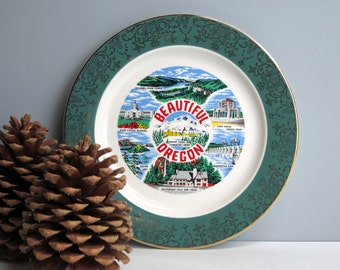 Beautiful Oregon travel souvenir plate - vintage road trip collectible - USA travel - state plate decor - plate wall decor