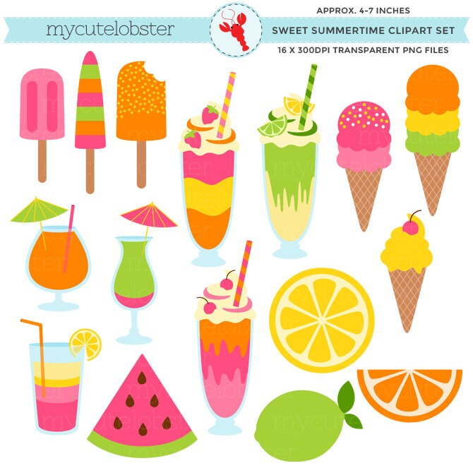Clip Art Summertime Clip Art summertime clipart etsy sweet set ice cream summer milkshakes drinks fruit clip art personal use small commercial instant download