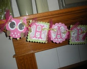 Owl Birthday Banner, Open Eyed Owl Birthday Banner, Pinks and green paisley owl banner,Girl Owl Banner, Matching Tissue Pom Poms Available