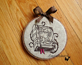 Felt wall hanging machine embroidery, Book of Fairy Tales wall hanging in Hoop