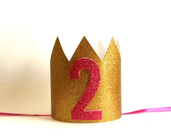 Second Birthday Crown, Birthday Party Hat, Birthday Paper Crown, Second Pink and Gold Crown, Pink and Gold Birthday, 2 Girl Birthday Crown