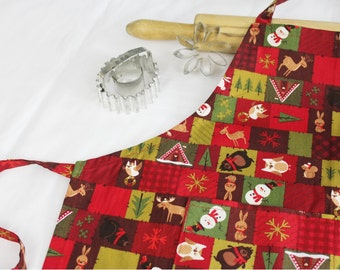 Christmas at the Cabin Youth Size Apron with pocket
