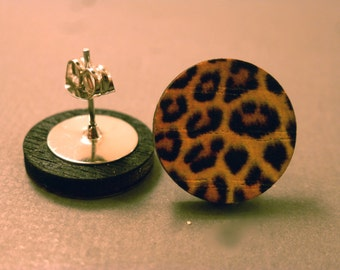 Leopard Print Fake Plugs: Wooden Leopard Print Stud Earrings, Leopard Print, Animal Print, Safari, Fake Plug