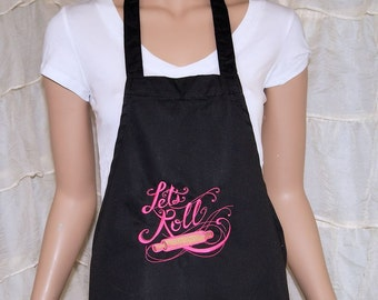 Let's Roll Baking Rolling Pin Embroidered Logo Pocket Chef Apron MTCoffinz - Ready to Ship