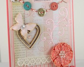 Love Handmade Card / Sweetheart Card / Feminine Card / Valentine Card / Coral & Pink