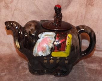 Vintage Redware Pottery Elephant Teapot