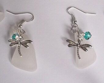 Dragonfly earrings sea glass earrings sea glass beach glass jewelry.