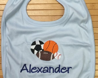 Personalized Sports Baby Bib Embroidered Monogrammed Football Baseball