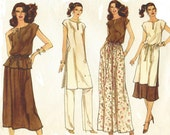 80s Womens Tunic or Top & Belt, Skirt and Pants Vogue Sewing Pattern 7130 Size 10 12 Bust 32 1/2 to 34 UnCut Boho Tunic Long or Short