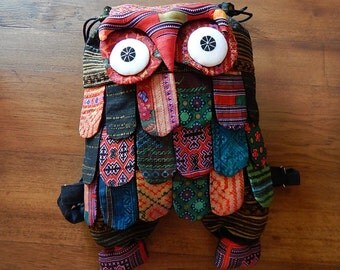 Hmong Owl Backpack Bag Patchwork Rucksack Thai Cotton Hippie Hobo Ethnic Animal Purse Large HMBP2