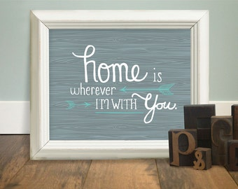 Home is Wherever I'm With You - 8x10 Word Art in 3 Colors (Hand Screenprinted)