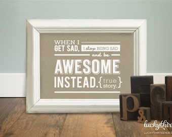 Be Awesome Instead - 5x7 Word Art in Kraft (Hand Screenprinted)