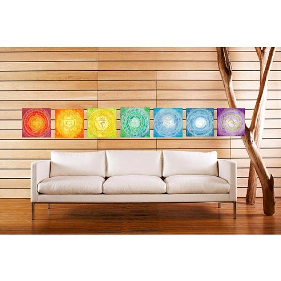 All Seven Framed Chakra Mandala Painting Set Metaphysical, Healing, Rainbow Art by Lauren Tannehill ART