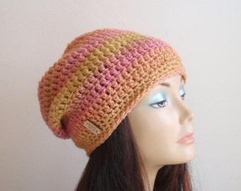 Summer Hat, Women,  Slouchy Beanie, Orange Striped Tweed, Hipster Skull Cap, Fashion Accessories