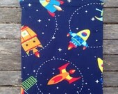 "Travel wet bag 10""x13"" Rocket Spaceship- optional strap available"