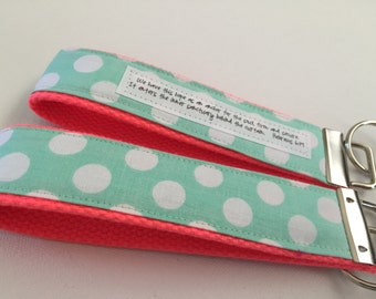 Mint Polka on Bright Coral Canvas Fob:  You choose Verse or Quote