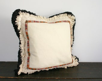 Modern Black and Cream Fringe with Jacquard Trim Textural Throw Pillow