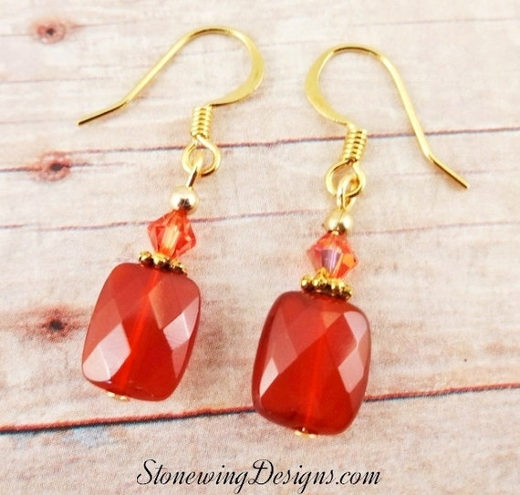 Carnelian Earrings, Carnelian and Crystal Earrings, Gemstone Earrings, Orange Earrings, Orange Jewelry, Gemstone jewelry, Classic Earrings