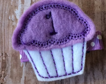 1st Birthday CUPCAKE Lavender White Felt Hair Clippie Baby Girl