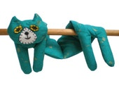 Neck Shoulder Microwave Heat Pack Cold Pack - Flat Cat Rice Heat Cold Pack Microwavable - Teal Blue & Gold Cat