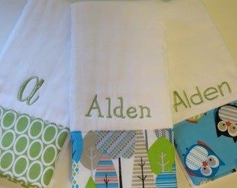 Personalized Monogrammed Baby Boy Burp Cloth Set