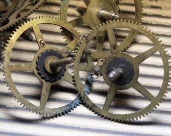 2  Vintage  Large Brass Gears