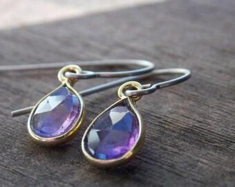 Titanium Earrings, Amethyst in Vermeil on Titanium Ear Wires, February Birthstone