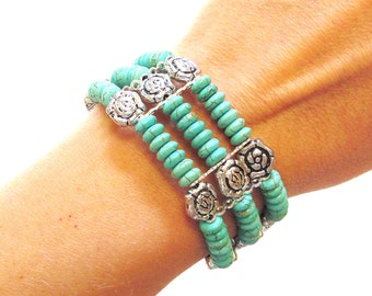 Turquoise Silver Western Bracelet Strand Wide Stone